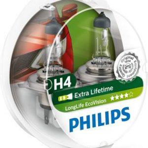 PHILIPS LongLife EcoVision Λυχνία, μεγάλα φώτα H4, 60/55W, 12V ,12342LLECOS2