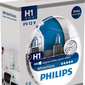 Philips H1 WhiteVision 12V 55W 3700K 2τμχ ,12258WHVSM